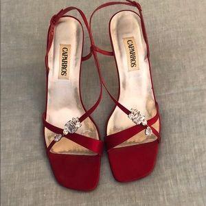 Caparros womens red silk high heels